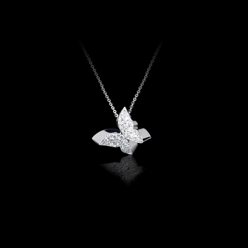 Canturi Odyssey butterfly diamond pendant in white gold