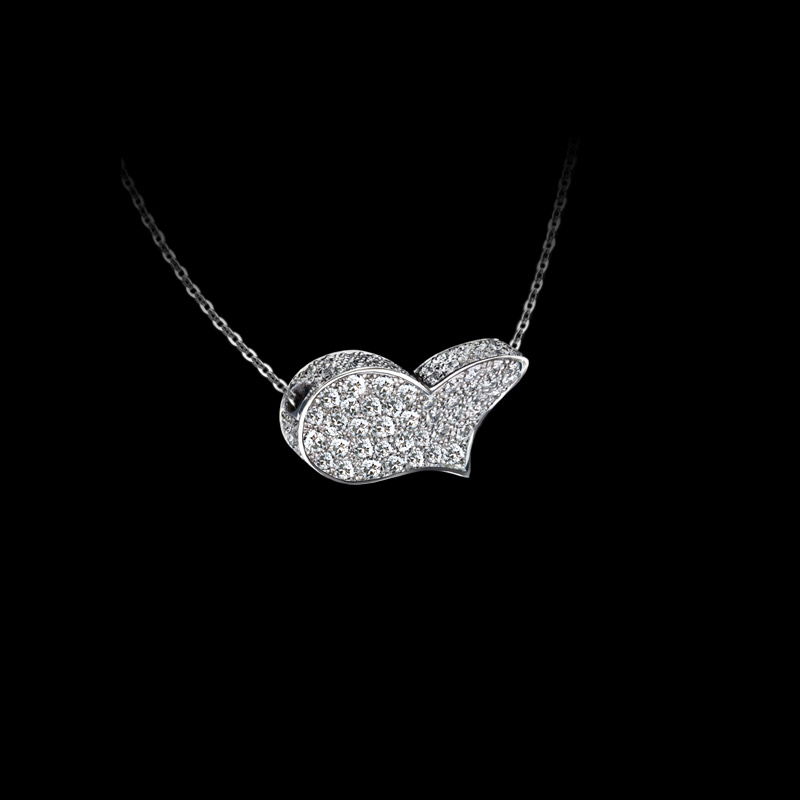 Canturi Odyssey heart pendant with full diamonds in 18ct white gold