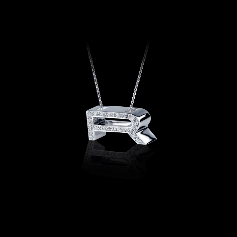 Canturi Alphabet 'R' pendant with pavé set diamonds in 18ct white gold