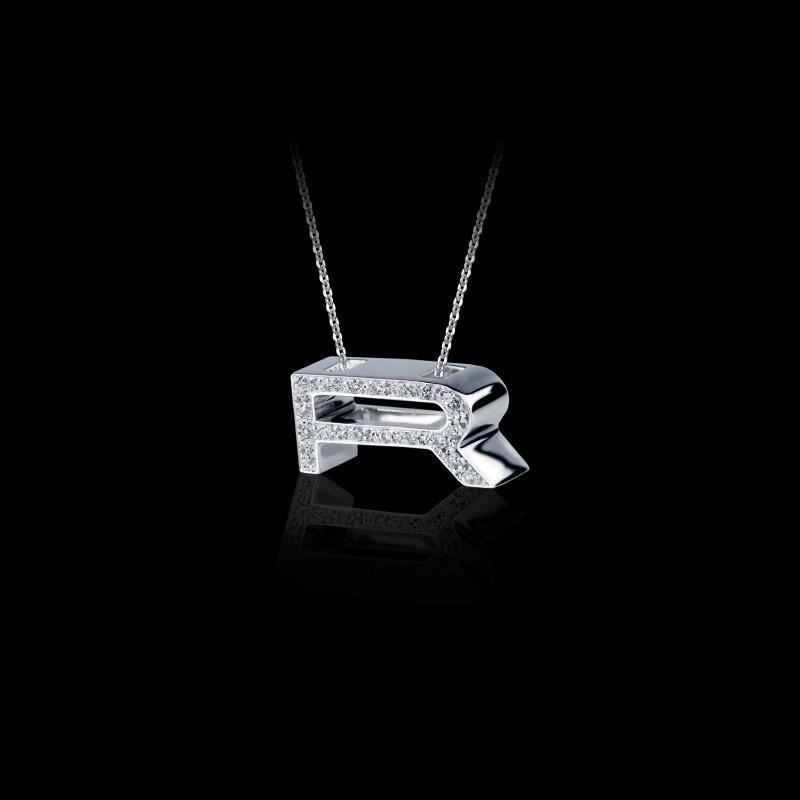 Canturi Alphabet 'R' pendant with pavé set diamonds in 18ct white gold