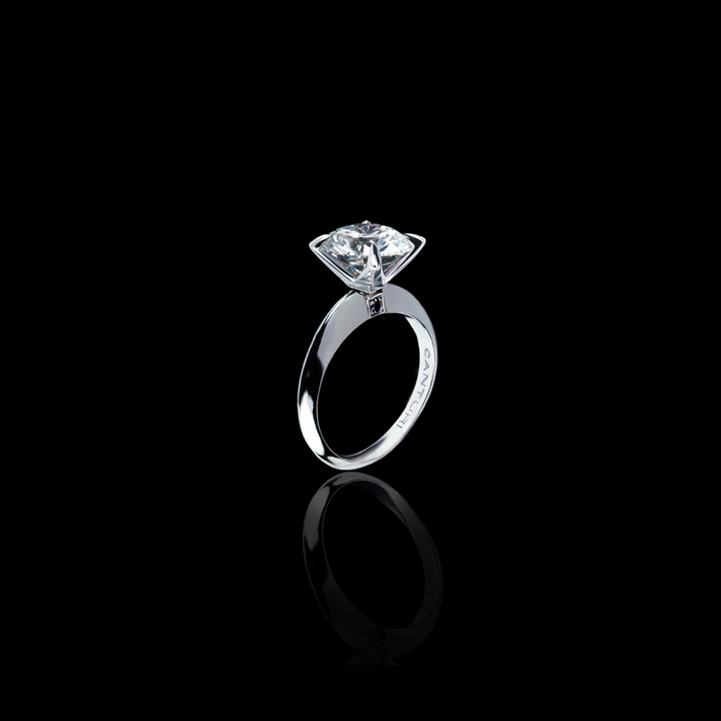 Canturi Regal diamond engagement ring with dream setting and black sapphire detail with a round brilliant cut diamond (shown) or a variety of diamond shapes and sizes in 18kt white gold, also available in yellow and pink gold.
