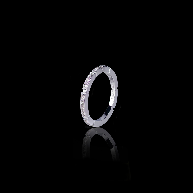 Canturi Regina 1.8mm full diamond set wedding band in 18ct white gold, also available in yellow or pink gold