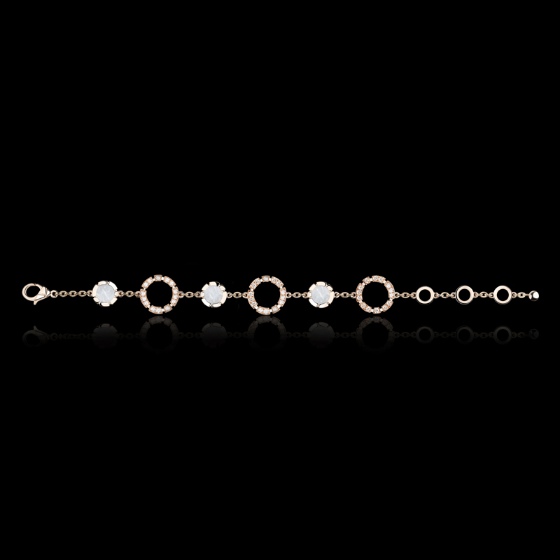 Regina 3 Link diamond and Mother of Pearl bracelet in 18ct pink gold. Also available in 18ct white or yellow gold.