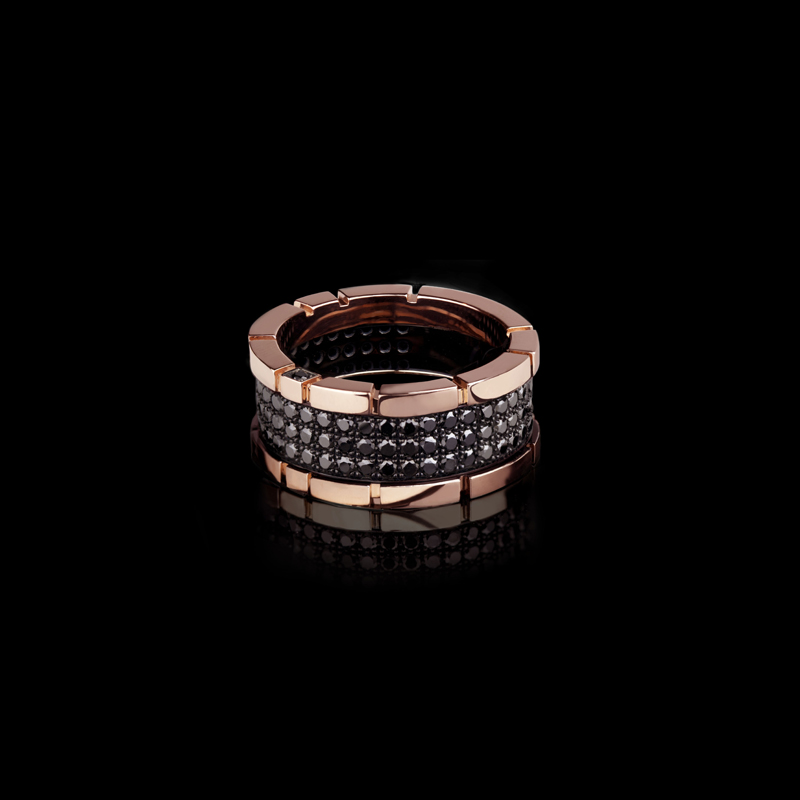Canturi Regina 2 row black diamond ring in pink gold by Stefano Canturi