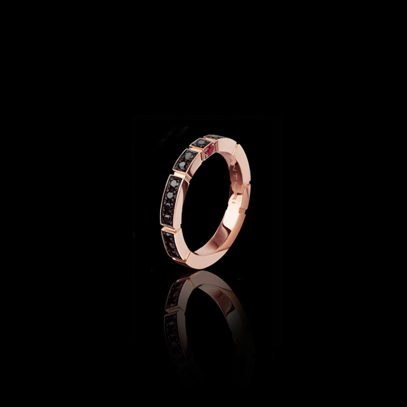Canturi Regina black diamond band with ruby in 18ct pink gold, also available in white or yellow gold.