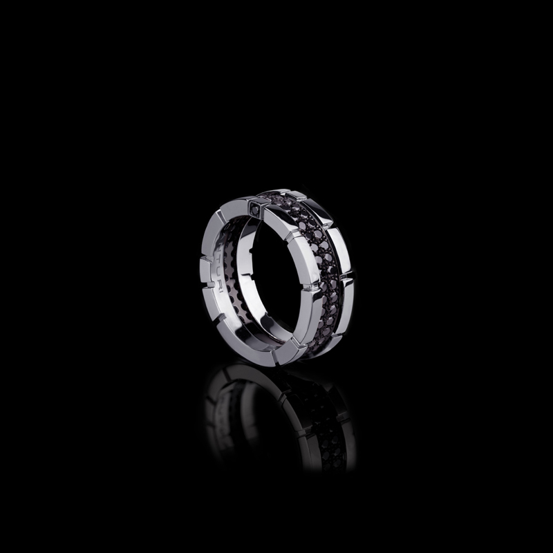 Canturi Regina 2 row black diamond ring in 18ct white gold by Stefano Canturi
