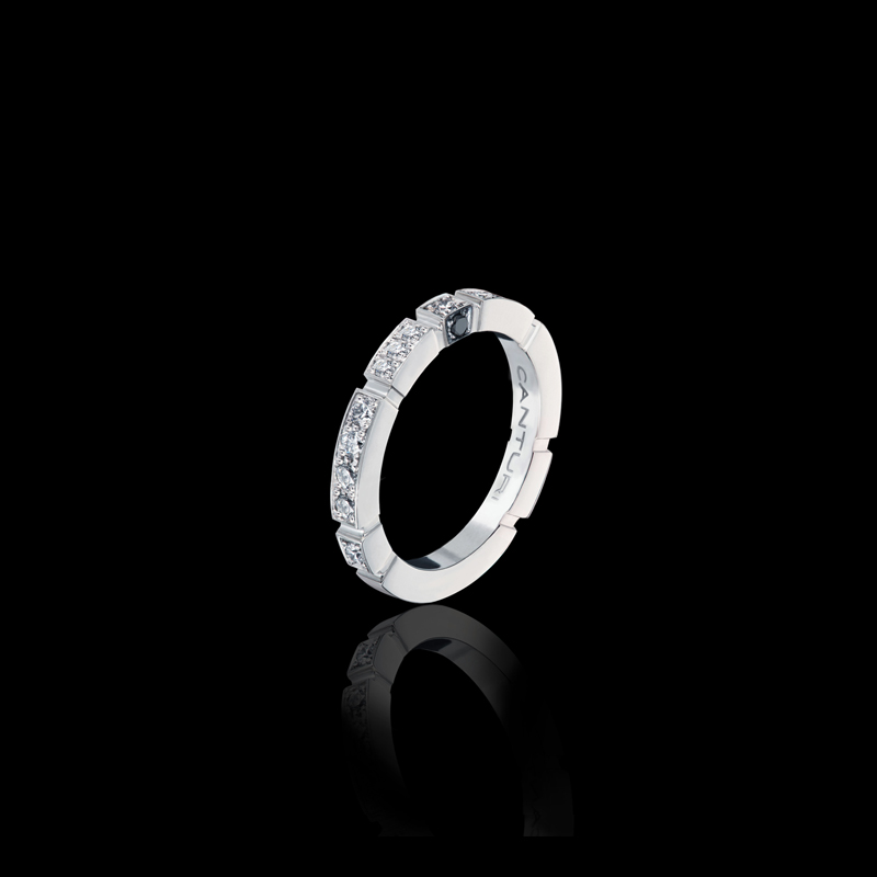 Canturi Regina diamond set wedding band with Australian black sapphire detail in 18kt white gold, also available in yellow or pink gold