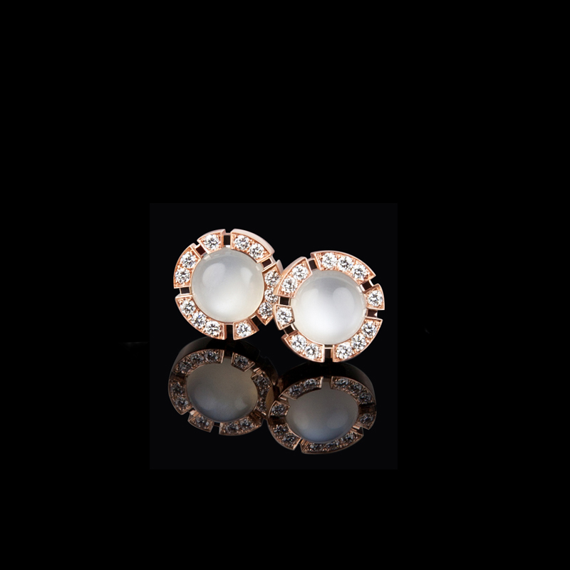 Regina diamond and moonstone studs earrings in 18ct pink gold. Also available in 18ct white or yellow gold.