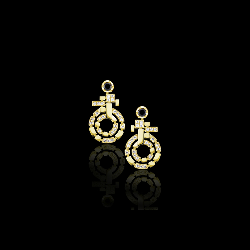 Canturi Regina diamond and Australian black sapphire double link drop earrings available in 18kt yellow, white or pink gold
