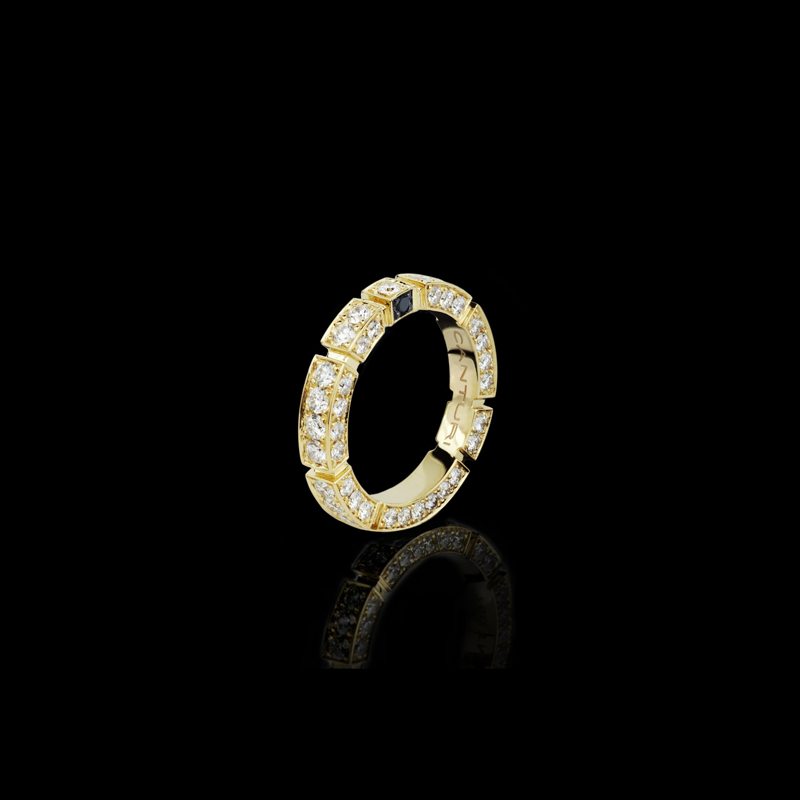 Canturi Regina full diamond set wedding band with Australian black sapphire detail in 18kt yellow gold, also available in white or pink gold