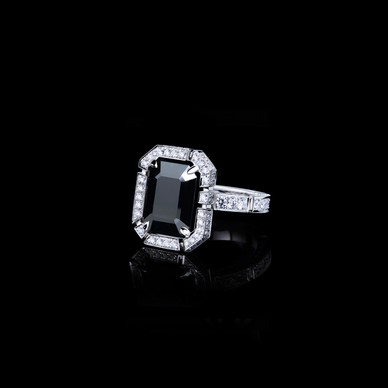 Canturi Regina halo diamond ring with emerald cut Australian black sapphire in 18ct white gold, also available in yellow gold or pink gold.