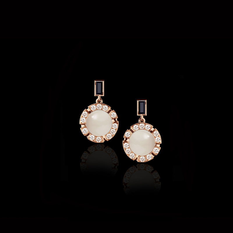 Canturi Regina drop earrings with moonstones, Australian black sapphires and diamonds 18ct pink gold.