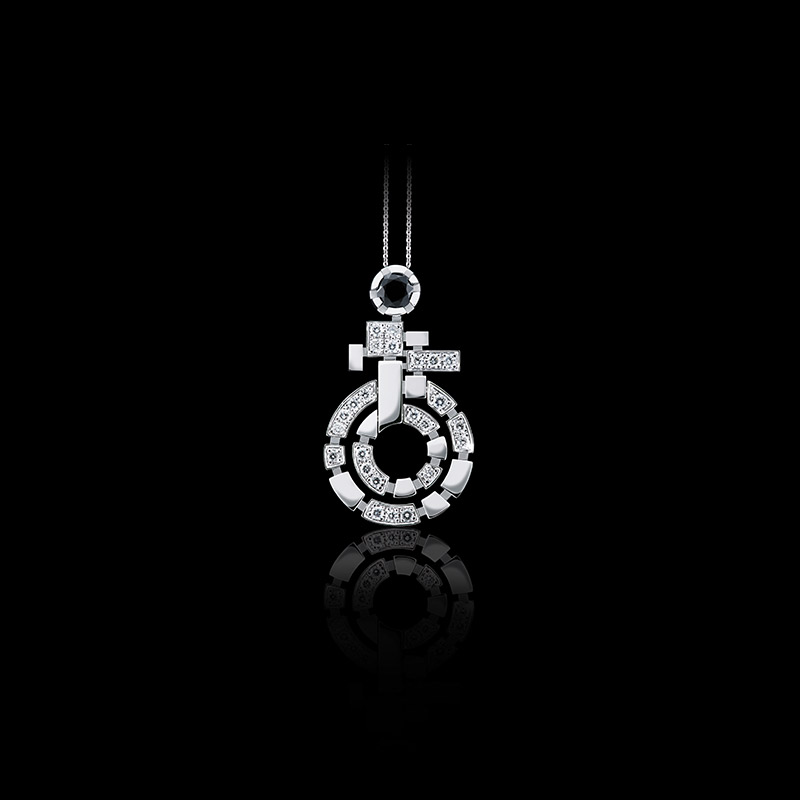 Canturi Regina necklace with diamonds and Australian black sapphire in 18ct white gold