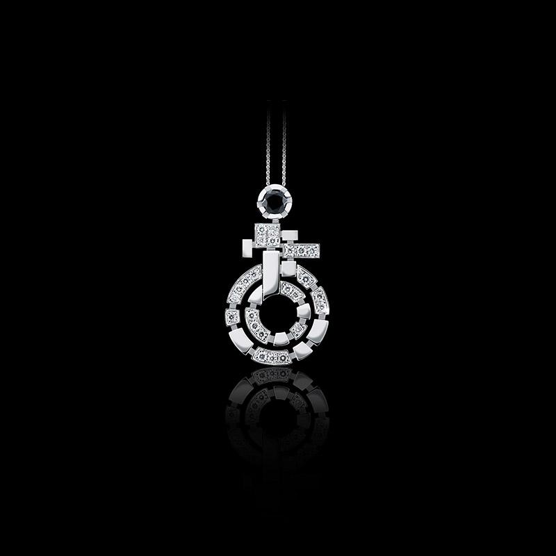Canturi Regina necklace with diamonds and Australian black sapphire in 18ct white gold