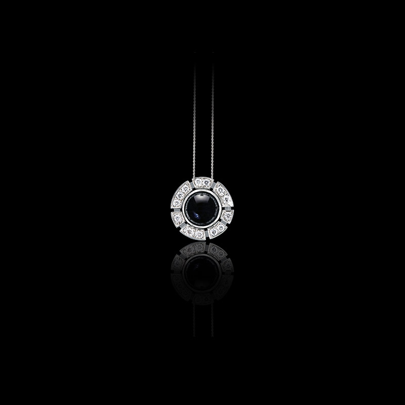 Canturi Regina diamond pendant with Australian black sapphires in 18kt white gold
