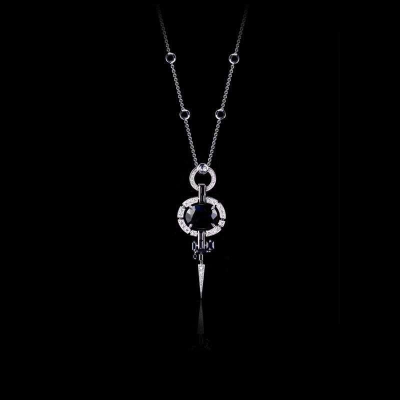 Canturi Regina diamond necklace featuring a 10.23ct oval shaped Australian black sapphire in 18ct white gold.