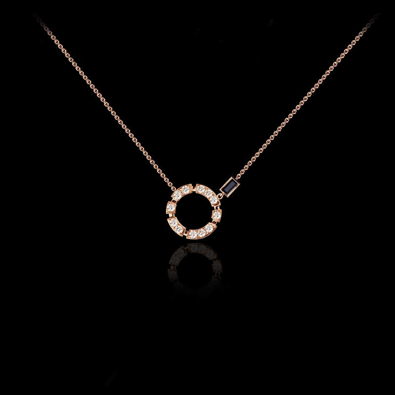 Regina diamond necklace with Australian black sapphire in 18ct pink gold. Also available in white or yellow gold.
