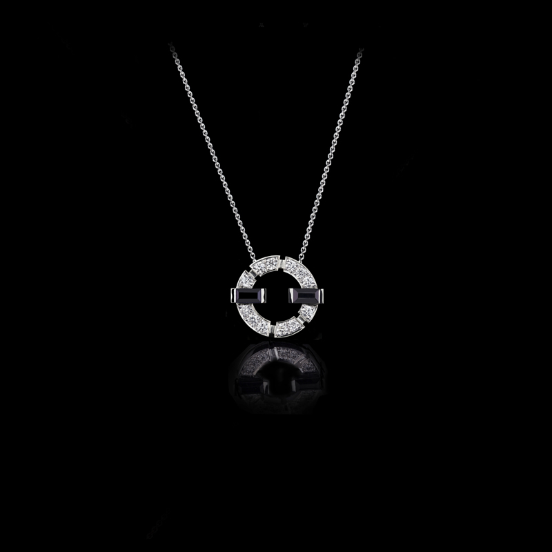 Regina diamond single link necklace with Australian black sapphires in 18ct white gold. Also available in pink or yellow gold.