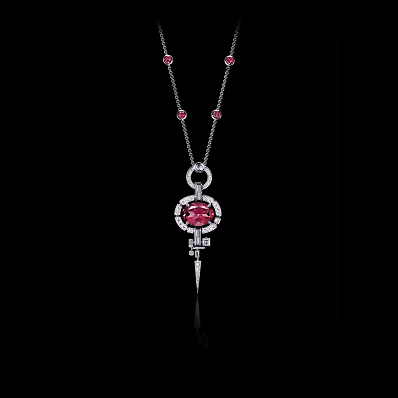 Canturi Regina diamond necklace featuring an oval shaped pink tourmaline in 18kt white gold.