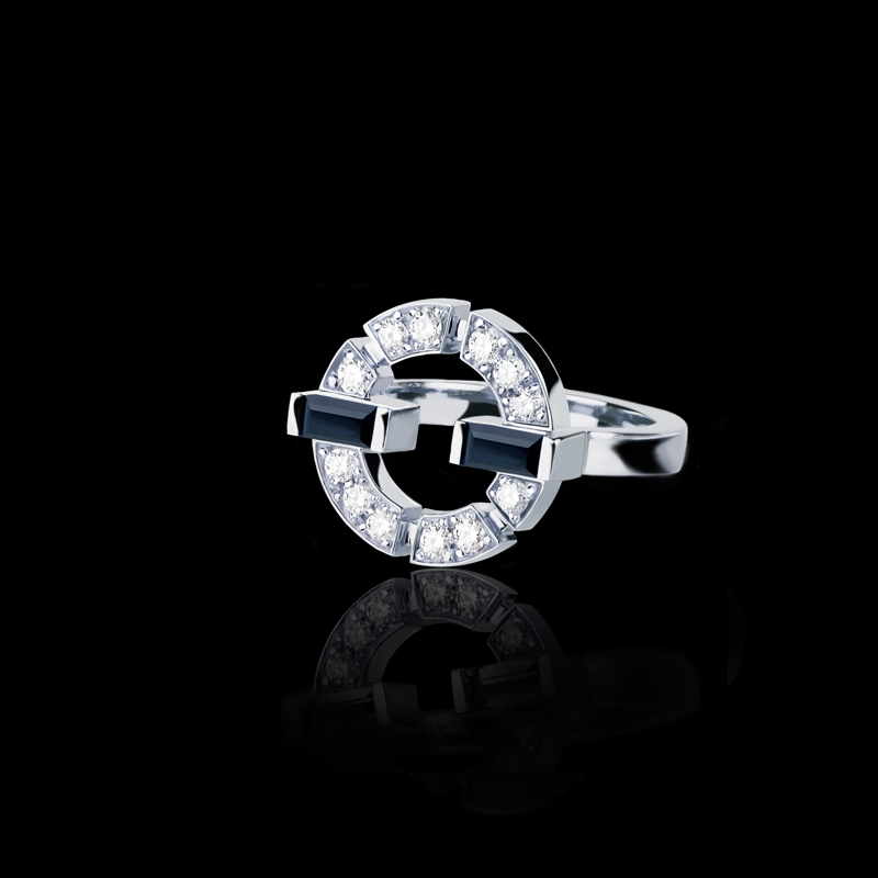 Canturi Regina single link diamond and Australian black sapphire ring in 18ct white gold, also available in yellow or pink gold.