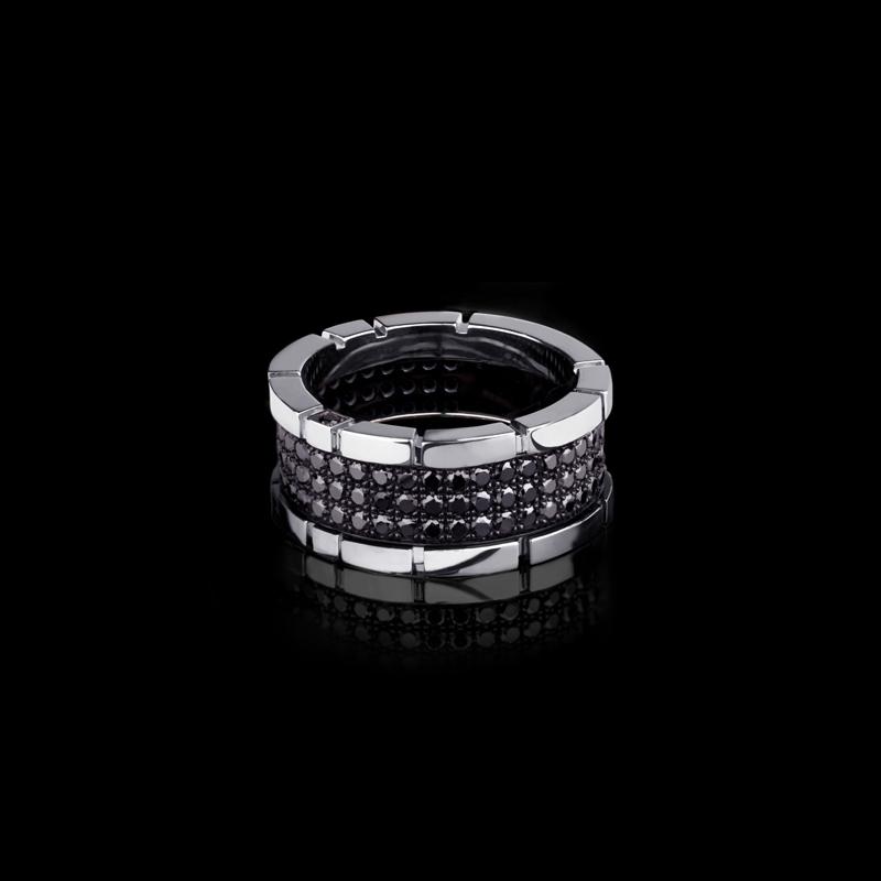 Canturi Regina 3 row black diamond ring in 18ct white gold by Stefano Canturi