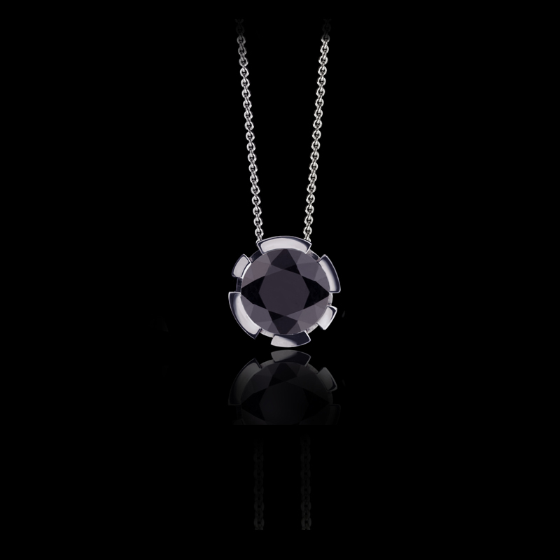Canturi Regina black sapphire pendant with chain available in 18ct white, yellow or pink gold.