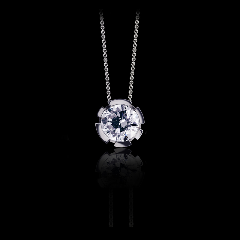 Canturi Regina diamond pendant with chain available in 18ct white, yellow or pink gold.