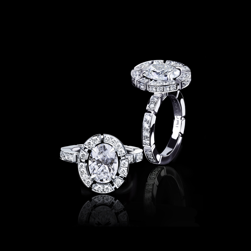 Canturi Regina halo diamond ring with Oval cut diamond in 18ct white gold, also available in yellow gold or pink gold.