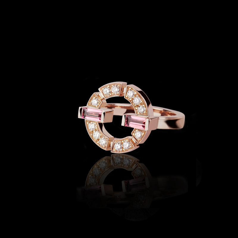 Canturi Regina single link diamond and pink tourmaline ring in 18ct pink gold.