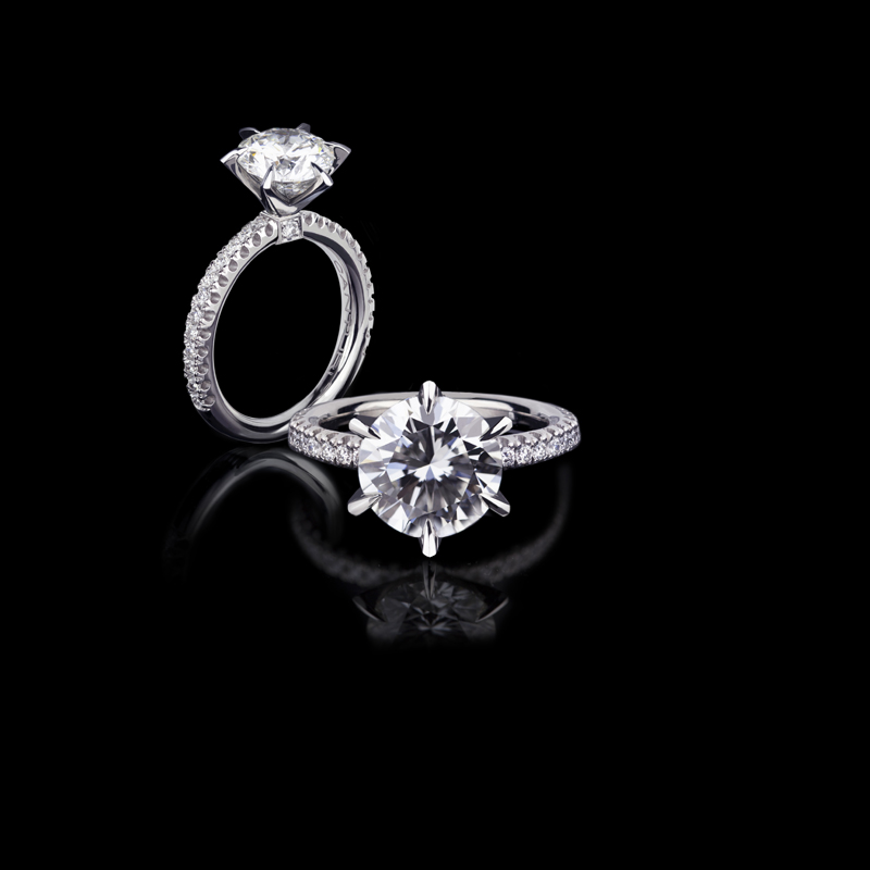 Canturi Renaissance diamond engagement ring with round brilliant cut diamond (shown) or a variety of diamond shapes and sizes, set in a 6 claw setting.  In 18kt white gold, also available in yellow gold, pink gold and platinum.