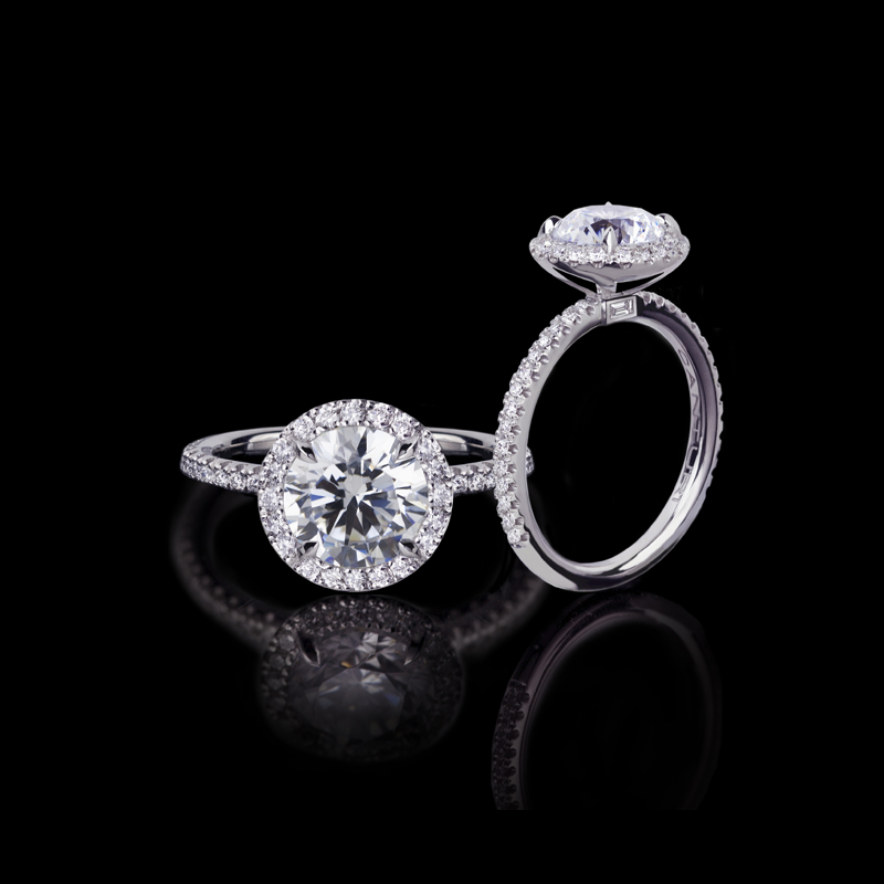 Canturi Renaissance fine micro scalloped diamond ring with single halo setting.  Available with a round brilliant cut diamond (shown) or a variety of diamond shapes and sizes. In 18ct white gold, also available in yellow gold, pink gold and platinum.