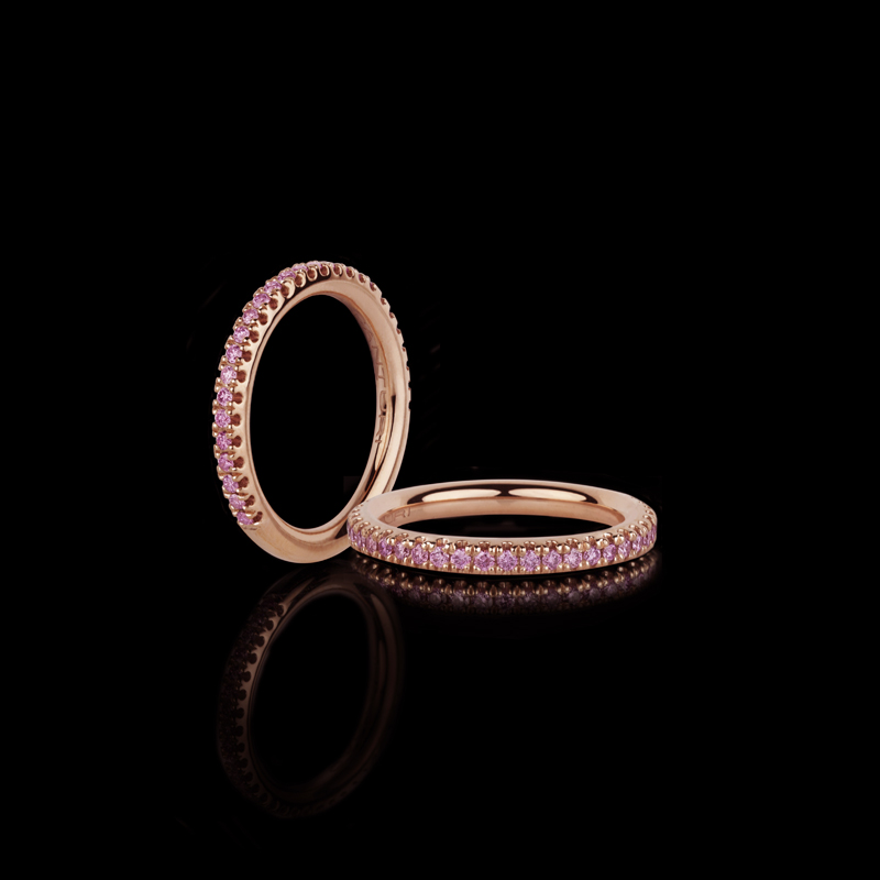 Canturi Renaissance micro comfort scalloped wedding band with Argyle pink diamonds in 18ct pink gold, also available in white or yellow gold.