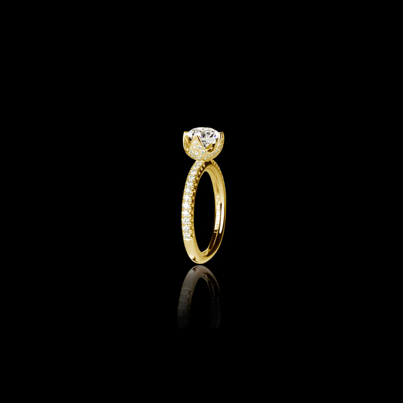 Canturi Renaissance Tulip diamond engagement with a round brilliant cut diamond (shown) or a variety of diamond shapes and sizes. In 18ct yellow gold, also available in white gold, pink gold and platinum.