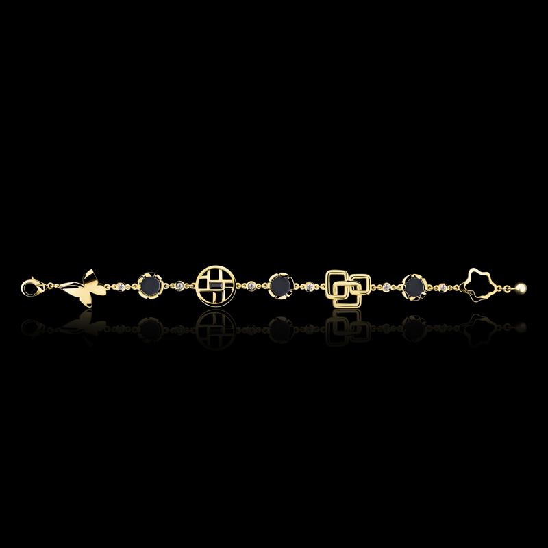 Canturi Signature bracelet with diamonds, Australian black sapphire and onyx in 18ct yellow gold. Also available in 18ct white or pink gold.