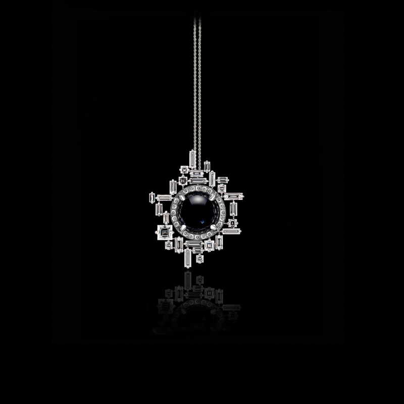 Canturi Cubism pendant with baguette and carré cut diamonds surrounding a cabochon cut Australian black sapphire in 18ct white gold.