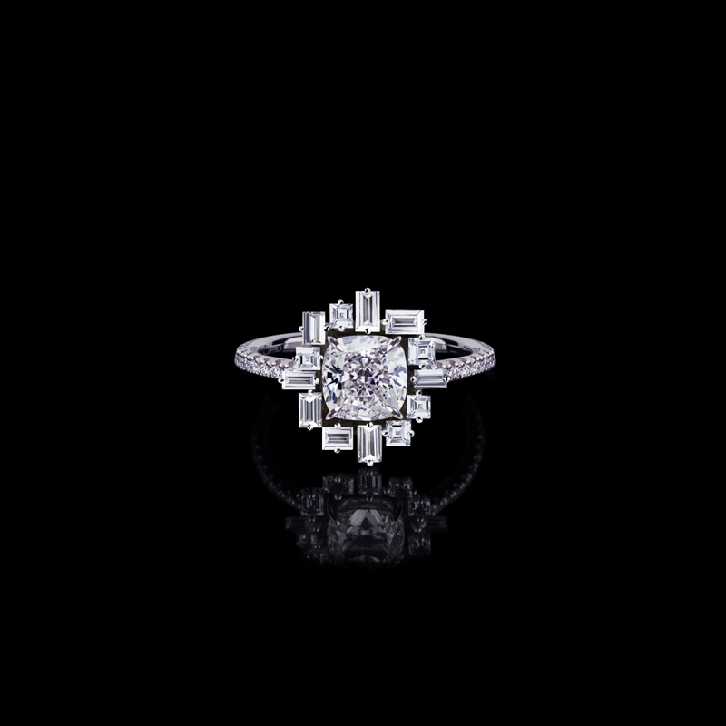 Cubism diamond 'Stella' ring in 18ct white gold.  Available in cushion cut diamond (shown) or round brilliant cut diamond.