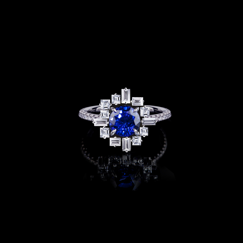'Stella' ring in 18ct white gold with round brilliant cut ceylon sapphire.