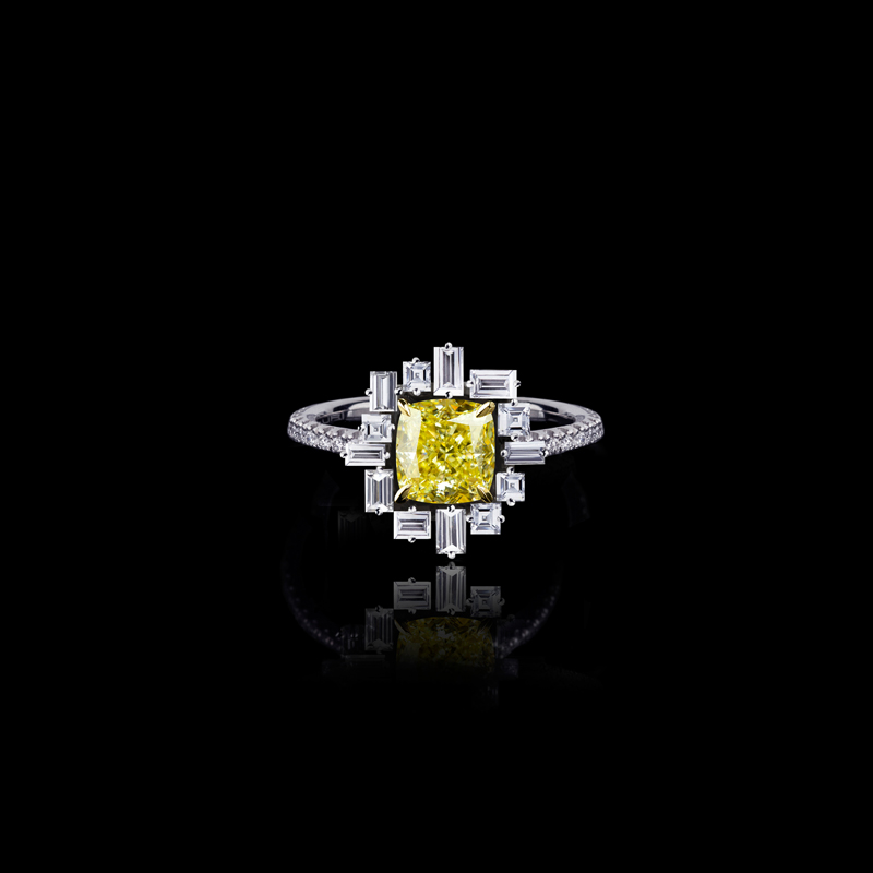 'Stella' ring in 18ct white gold with cushion cut fancy intense yellow diamond.