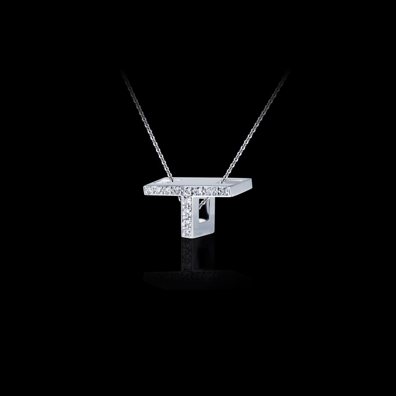 Canturi Alphabet 'T' pendant with pavé set diamonds in 18ct white gold