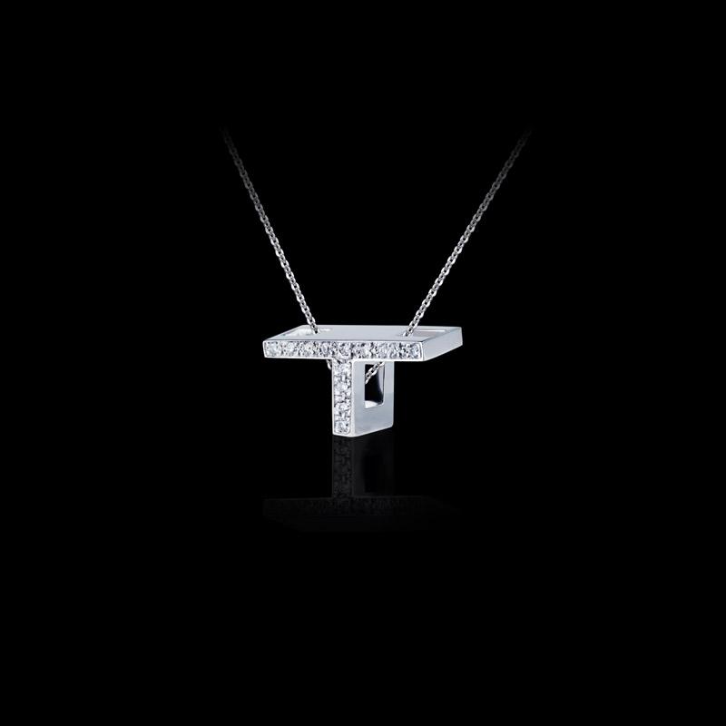 Canturi Alphabet 'T' pendant with pavé set diamonds in 18ct white gold