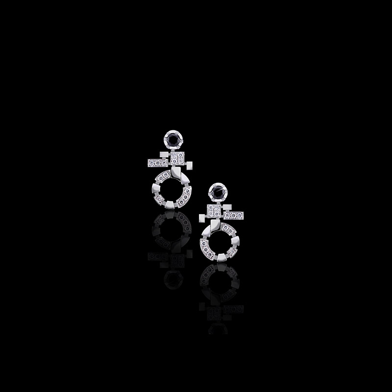 Canturi Regina diamond and Australian black sapphire single link drop earrings available in 18ct white, yellow or pink gold