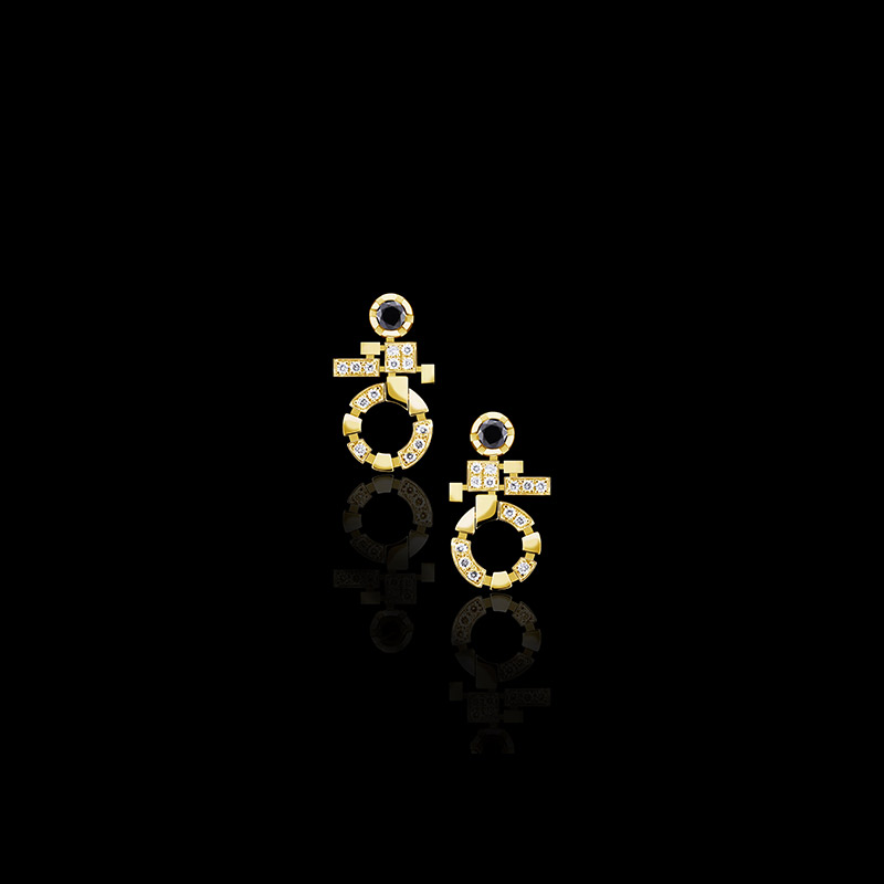 Canturi Regina diamond and Australian black sapphire single link drop earrings available in 18kt yellow, white or pink gold
