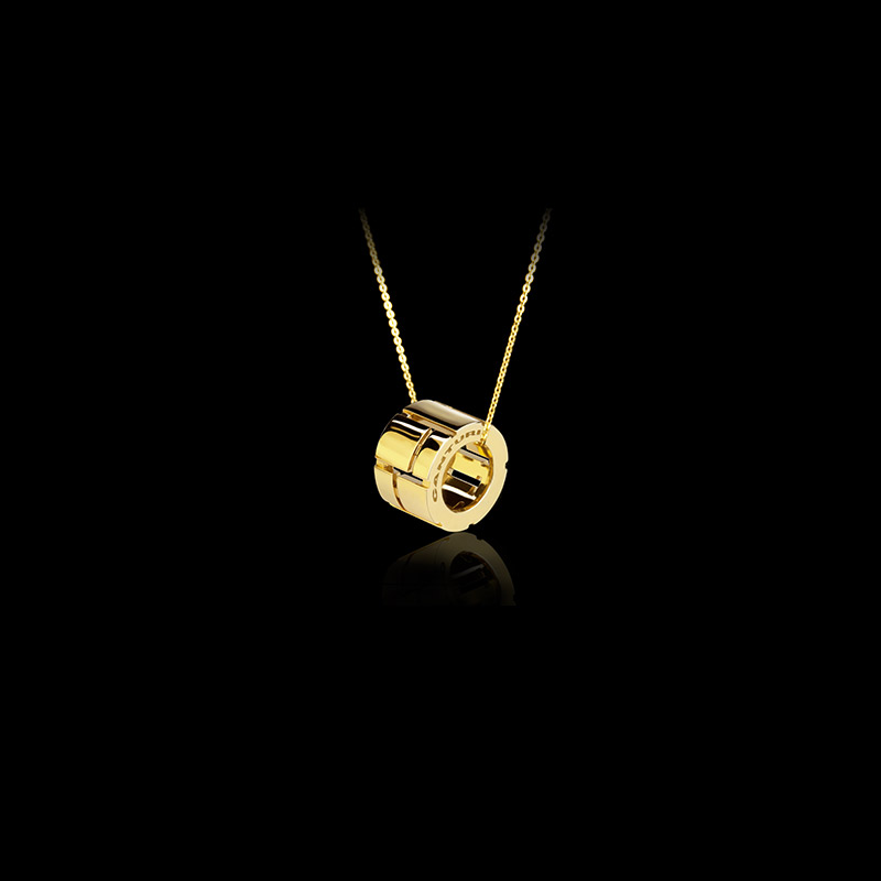 Canturi Cubism slide pendant and chain in 18ct yellow gold, also available in white and pink gold
