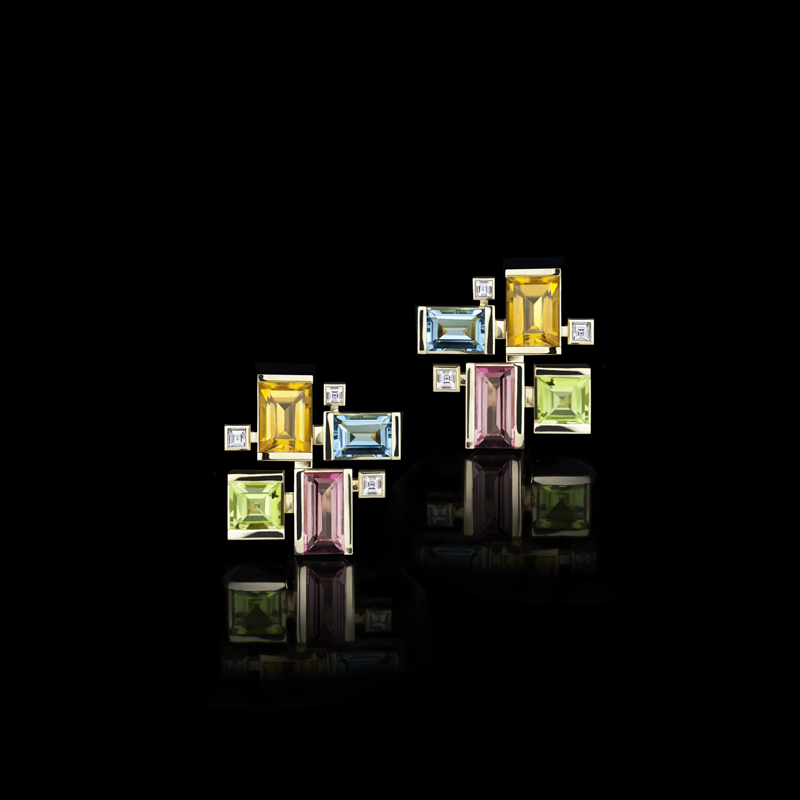 Cubism colourburst diamond and coloured gemstone earrings featuring pink tourmaline, blue topaz, peridot, and citrine gemstones in 18ct yellow gold. Also available in 18ct white or pink gold.