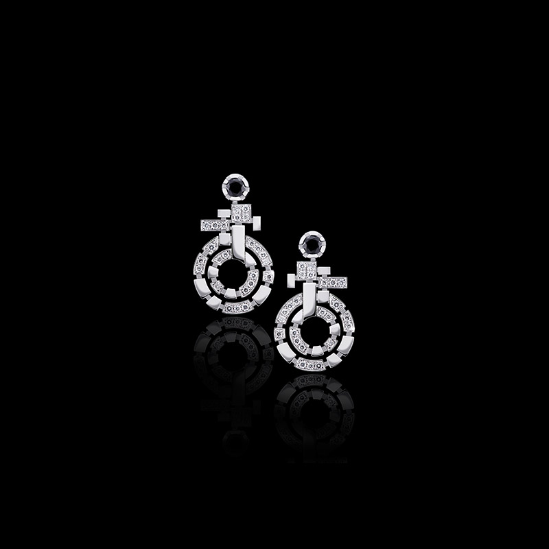 Canturi Regina diamond and Australian black sapphire double link drop earrings available in 18kt white, yellow or pink gold