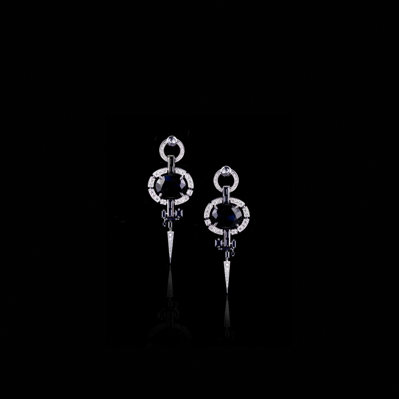 Canturi Regina diamond drop earrings featuring oval and Cubism pattern baguette and carré cut black sapphires in 18ct white gold, also available in yellow and pink gold.