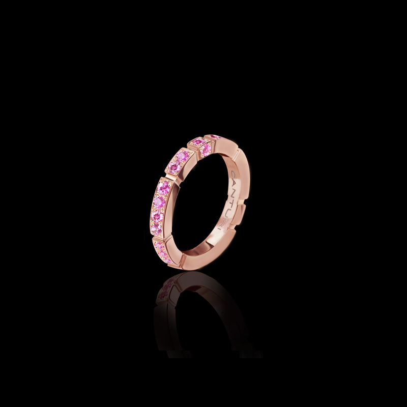Canturi Regina pink sapphire band in 18ct pink gold, also available in white or yellow gold.