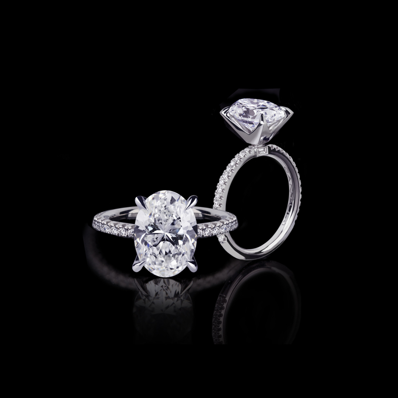 Canturi Renaissance fine micro comfort scalloped ring with an oval shaped diamond set in a 4 Dream claw setting.  In 18ct white gold, also available in yellow gold, pink gold and platinum.