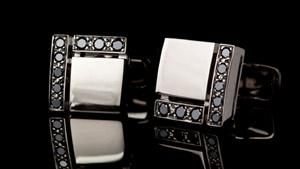 Canturi Cubism cufflinks with black diamonds in 18ct white gold