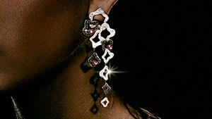 Canturi Island Luxe chandelier drop earrings in 18kt white gold with pink toumalines and black diamonds.